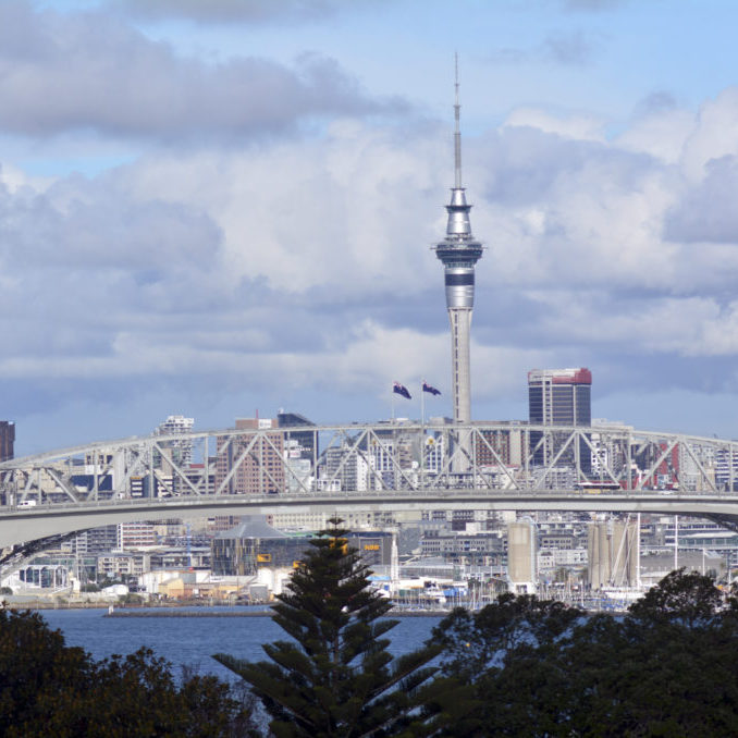 AUCKLAND,NZ - MAY 27 2014:Auckland Harbor Bridge in Auckland, New Zealand.It is the second-longest road bridge in New Zealand, and the longest in the North Island.